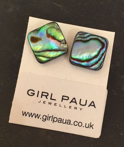 Paua Stud Earrings PE04 Square Natural Medium